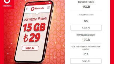 Photo of Vodafone 15 GB Ramazan Paketi 29 TL
