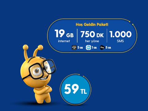 Hoşgeldin 19 GB Paketi 59 TL