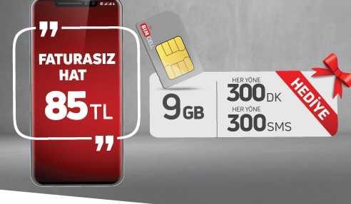 300 dakika, 300 SMS ve 9 GB cepten internet