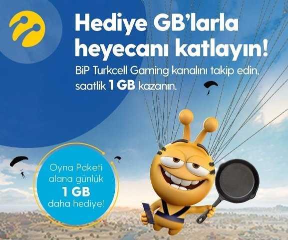 Turkcell Bip Gaming Paketi Saatlik 1 GB Bedava İnternet