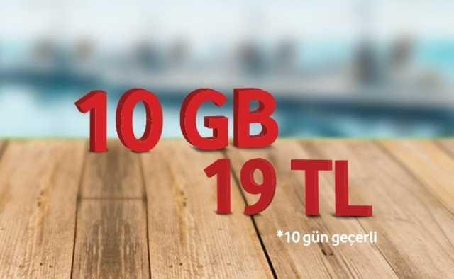 Vodafone Yaz Özel Faturasız 10 GB Paketi 19 TL