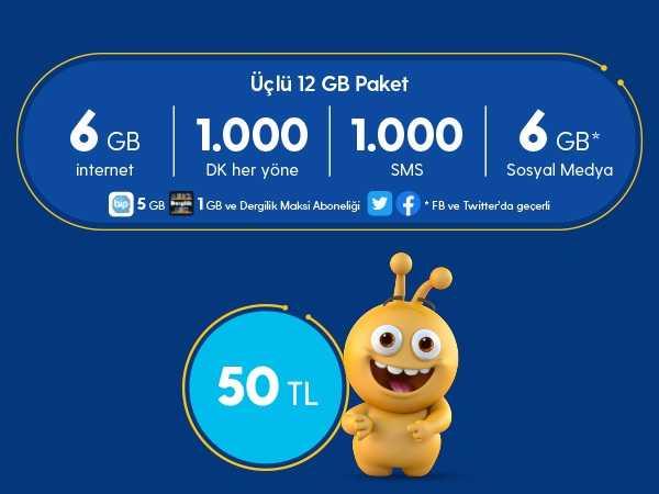 Turkcell 3lü 12 GB Paketi 50 TL