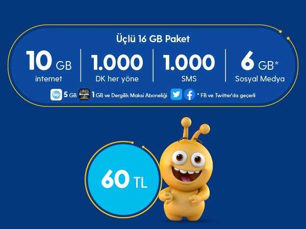 Turkcell 3lü 16 GB Paketi