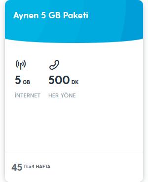 Turkcell Faturasız Aynen 5GB İnternet Paketi 45 TL