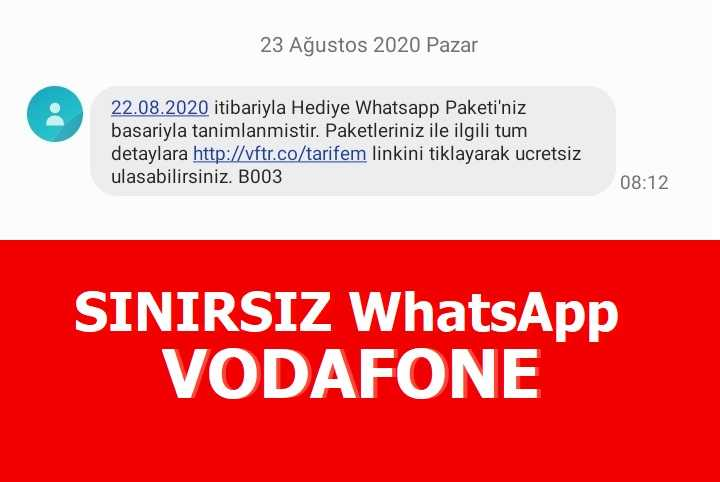 Vodafone Whatsapp Sınırsız İnternet Nasıl Kullanılır?
