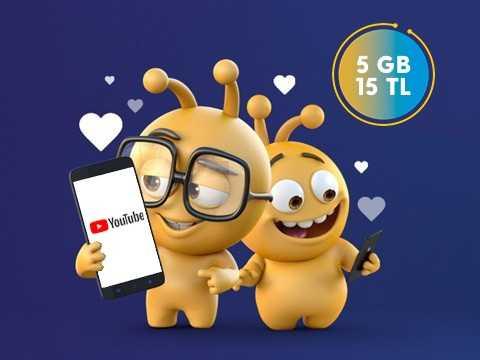 Youtube 5GB Paketi 15 TL