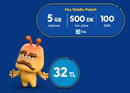 Turkcell Numara Taşıma Hoşgeldin 5 GB Paketi 32TL