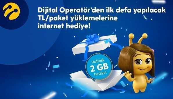 TL Yükle 2GB Hediye İnternet Kazan