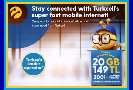 Turkcell Sim Card 20 GB Internet