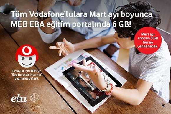 Vodafone EBA 6GB Bedava İnternet