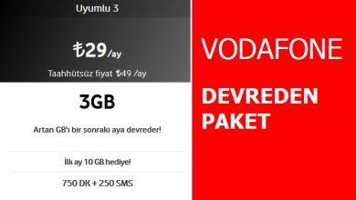 Photo of Vodafone Devreden Uyumlu 3 GB Paketi 29 TL