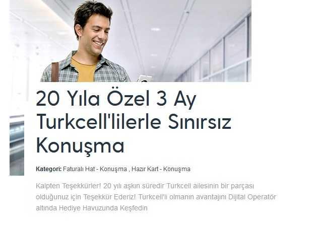 Turkcell Sınırsız bedava konuşma