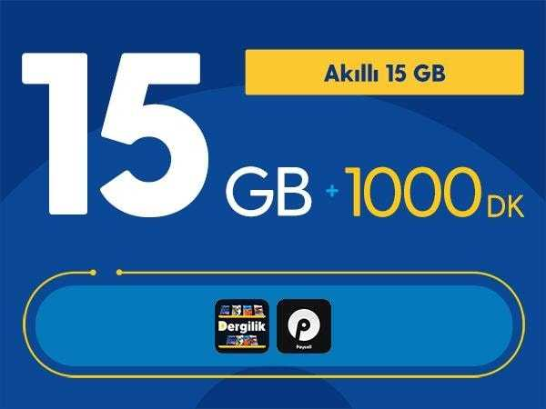 Akıllı 15 GB + 1000 DK Paketi 49 TL