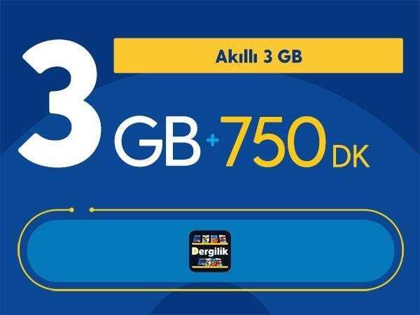 Akıllı 3 GB + 750 DK Paketi 28 TL
