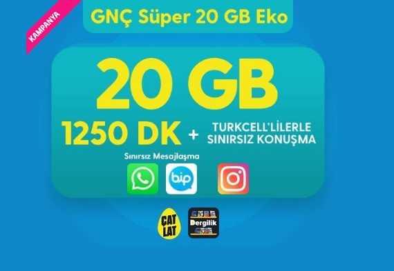 Faturalı Süper Genç 20 GB Eko 1250 DK. Paketi 94 TL