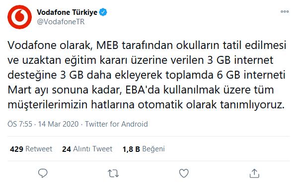 Vodafone 3 GB EBA Nasıl Yapılır?