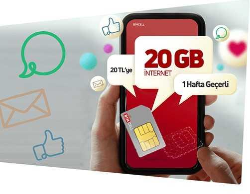 haftalık 20 GB internet