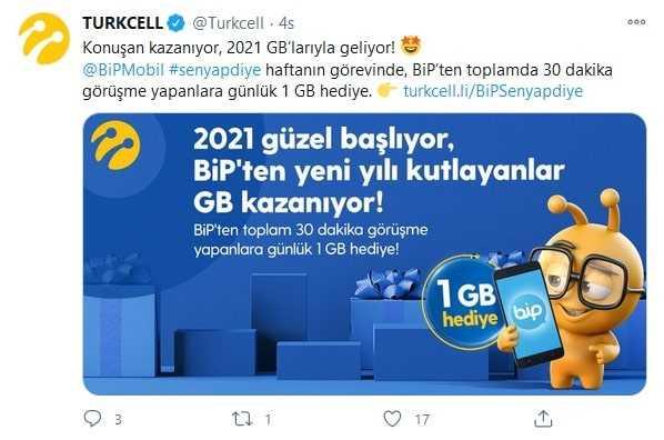 Turkcell Yılbaşı Bedava internet 2021