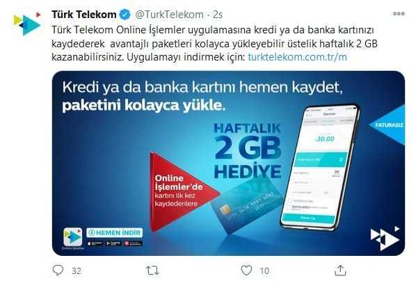 Türk Telekom Online İşlemler Bedava İnternet 2021