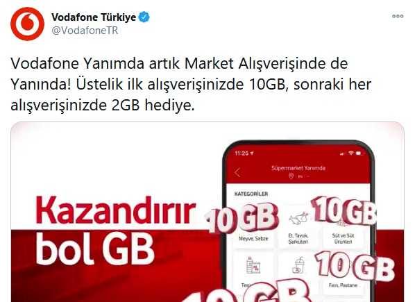 Vodafone Süpermarket 10 GB
