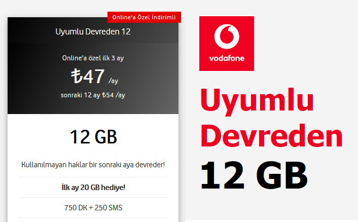 Uyumlu Devreden 12 GB Tarifesi 47 TL