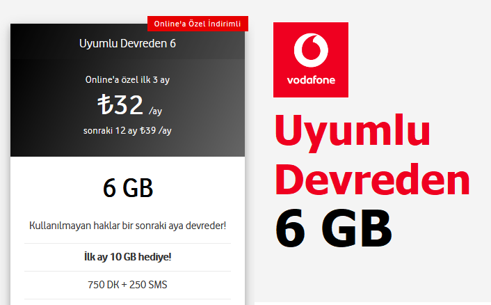 Uyumlu Devreden 6 GB Tarifesi 32 TL