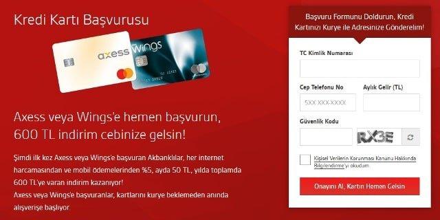 Akbank Axess anında onaylı kredi kartı başvurusu