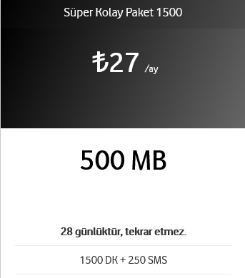 1500 DK + 250 SMS 500 GB 27 TL