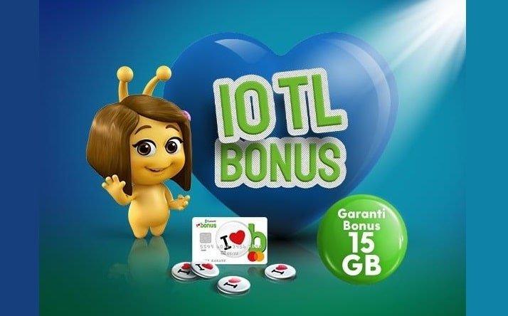 Turkcell Bonus Kart 15 GB + 1000 DK + 1000 SMS 65 TL