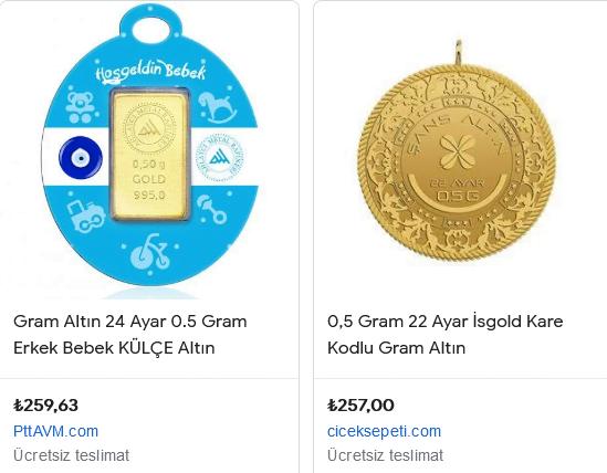 Hediyelik yarım Gram Altın fiyatı
